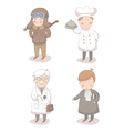 Cartoon set of four different occupations vector