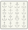 Silhouettes of hand drawn anchors vector