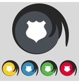 Shield sign icon protection symbol set colourful vector