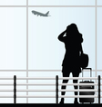 Girl with a travel bag at the airport vector