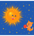 Sun and kitten with a ball vector