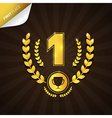 First place gold medal theme on dark background vector