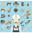 Construction concept with flat icons and builder vector