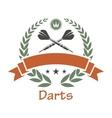 Darts sports heraldic emblem vector