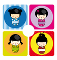 Kokeshi dolls in various designs vector
