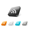 3d web button with rss icon vector