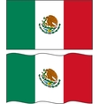 Flat and waving mexican flag vector