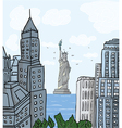New york cartoon background vector