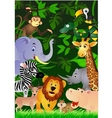 Animal cartoon in the jungle vector