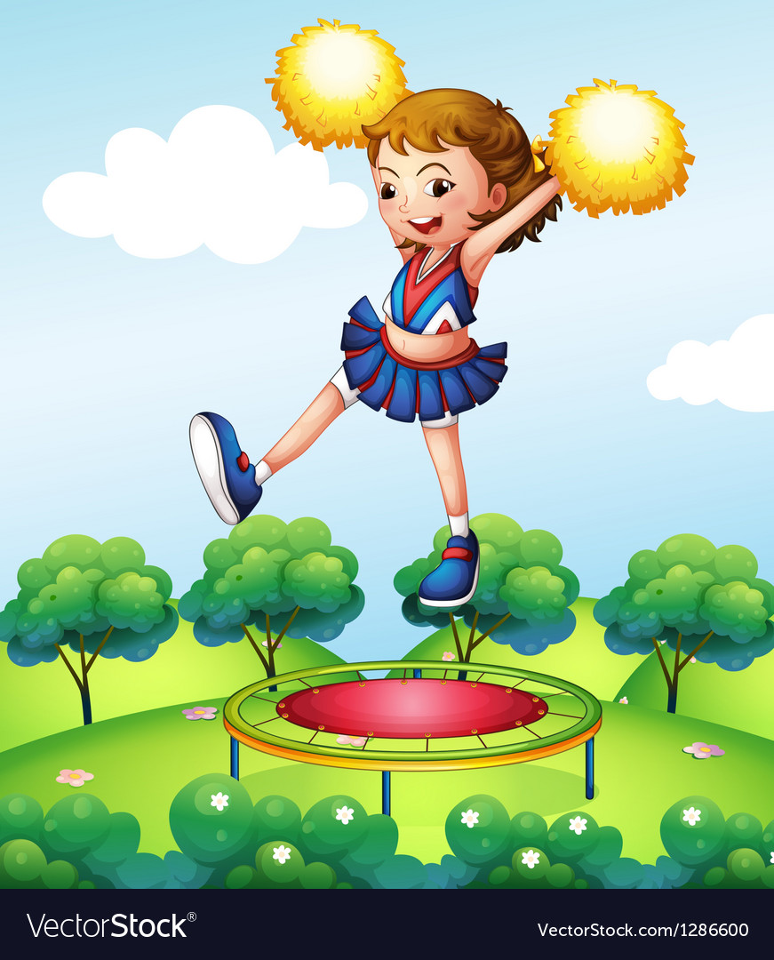 A trampoline below a young cheerdancer vector | Price: 1 Credit (USD $1)