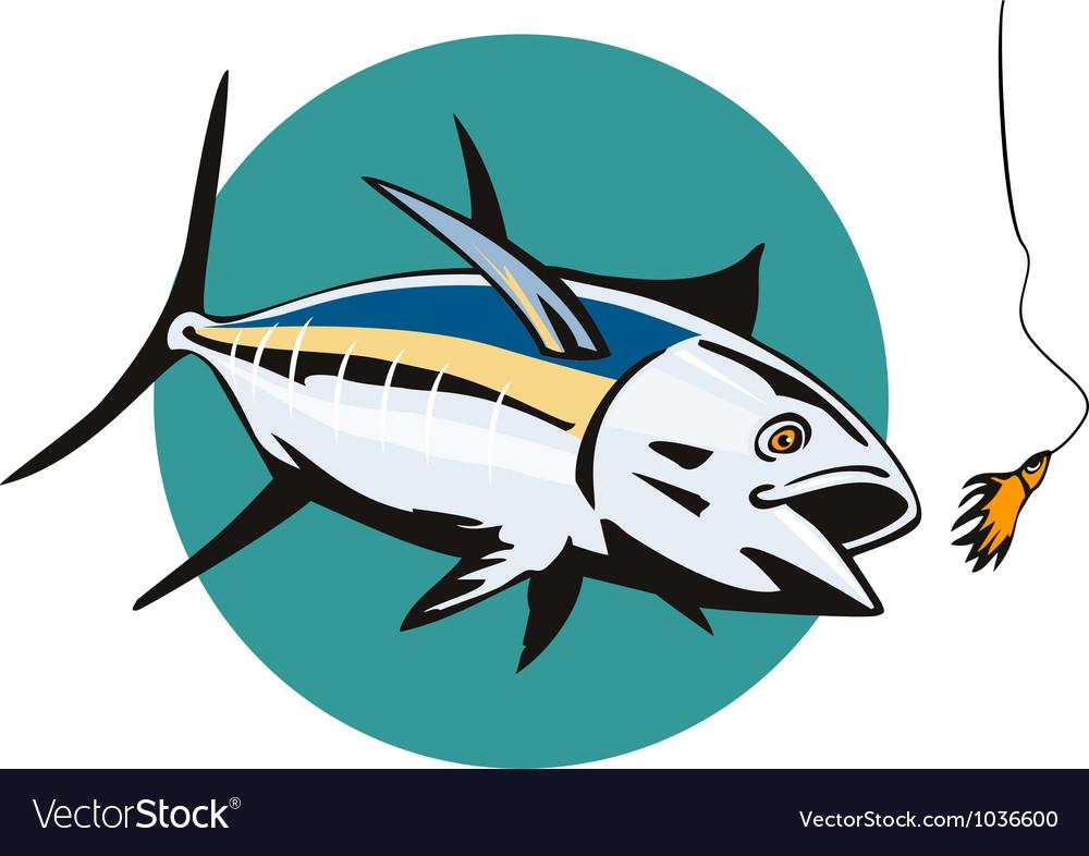Albacore tuna fish retro vector | Price: 1 Credit (USD $1)