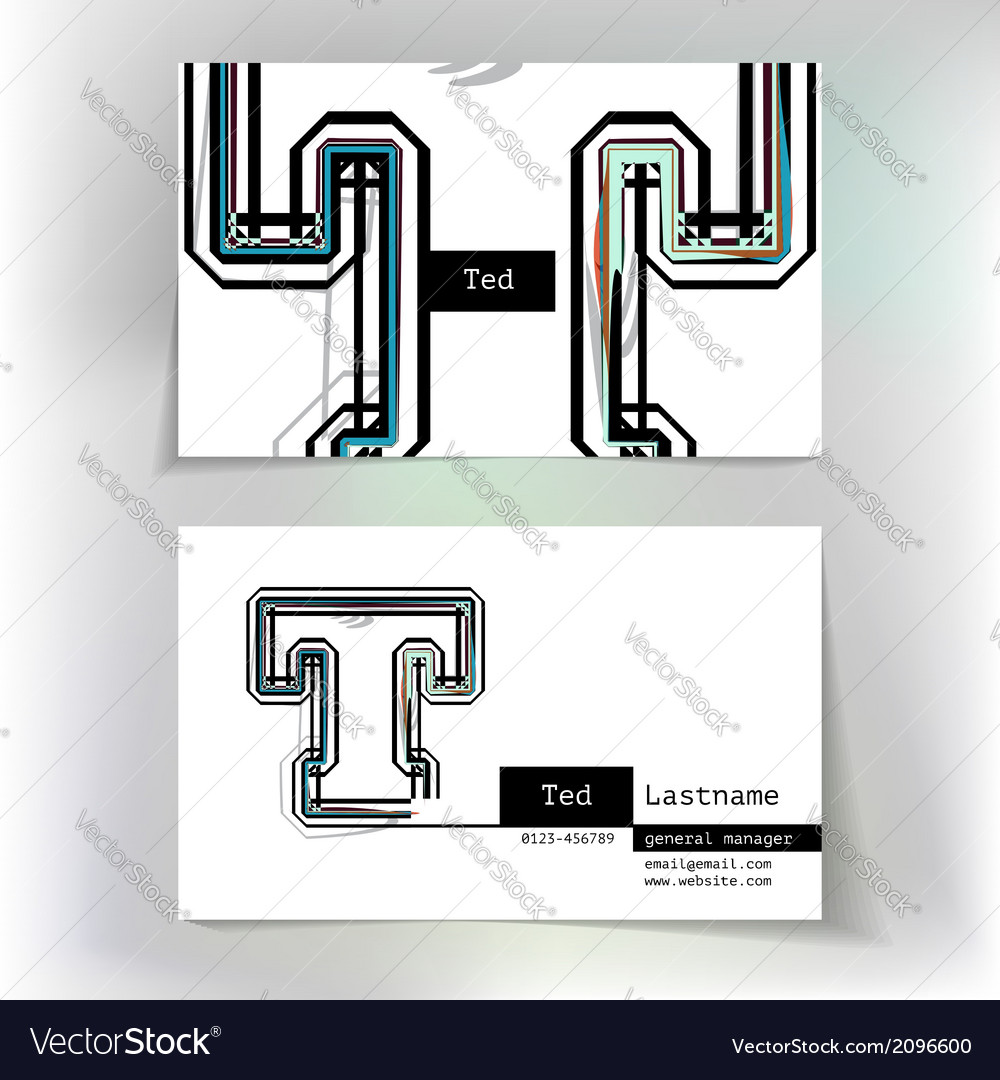 Business card design with letter t vector | Price: 1 Credit (USD $1)