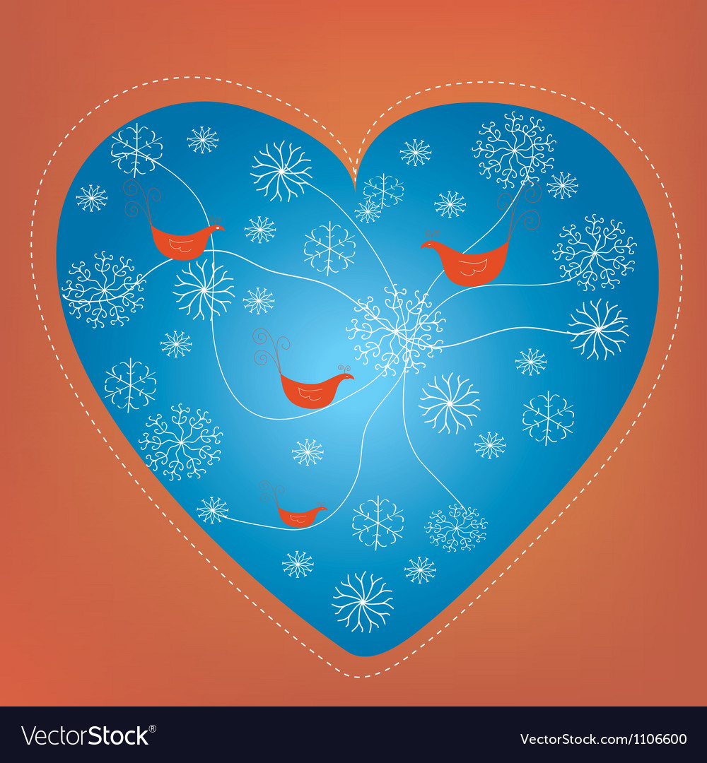 Christmas heart holiday card with snow vector | Price: 1 Credit (USD $1)