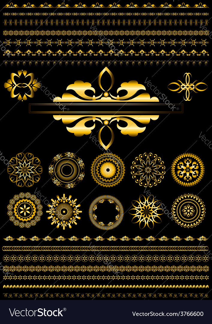 Collection of gold border on black background vector | Price: 1 Credit (USD $1)