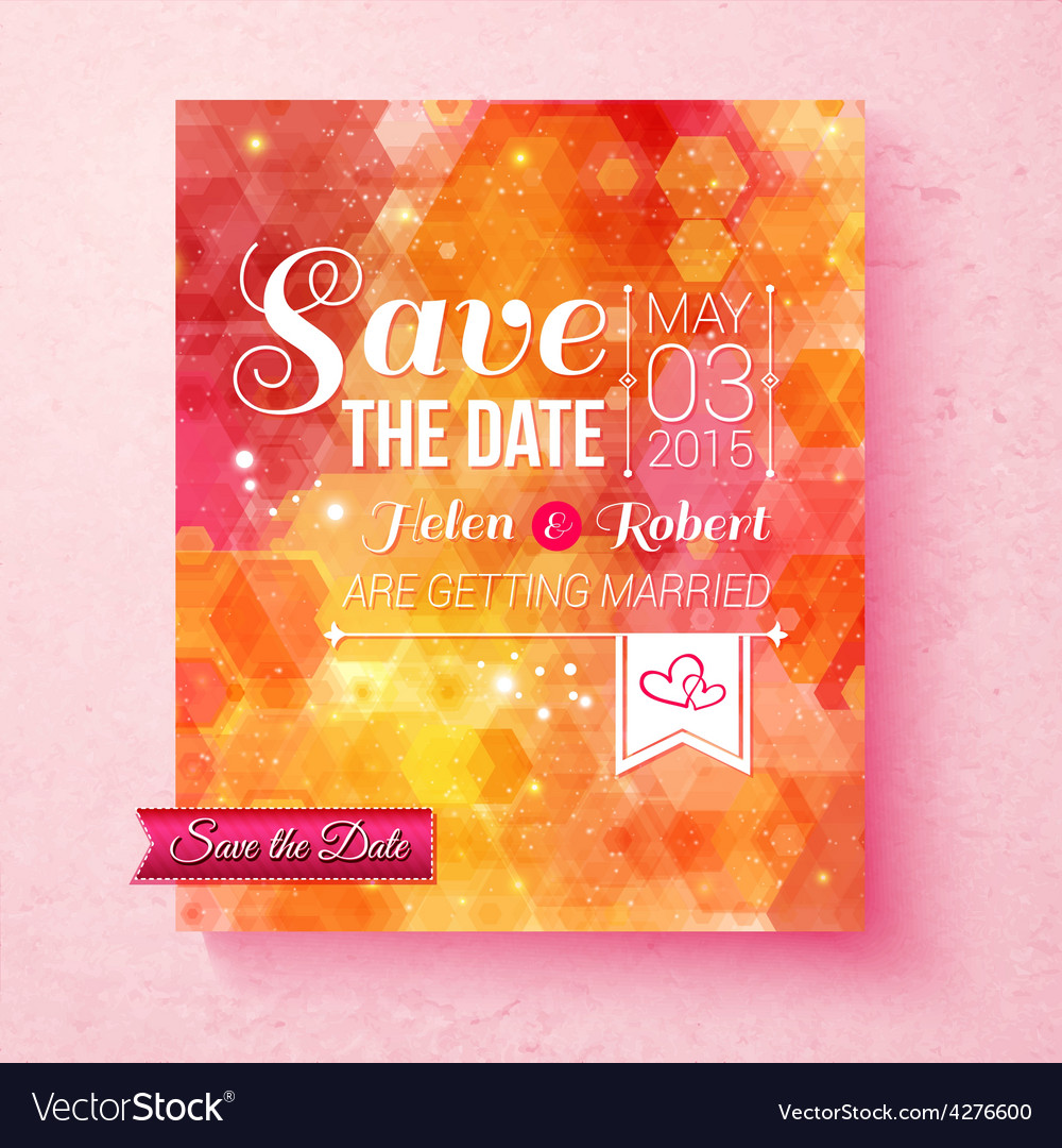 Colorful vibrant save the date wedding invitation vector | Price: 1 Credit (USD $1)