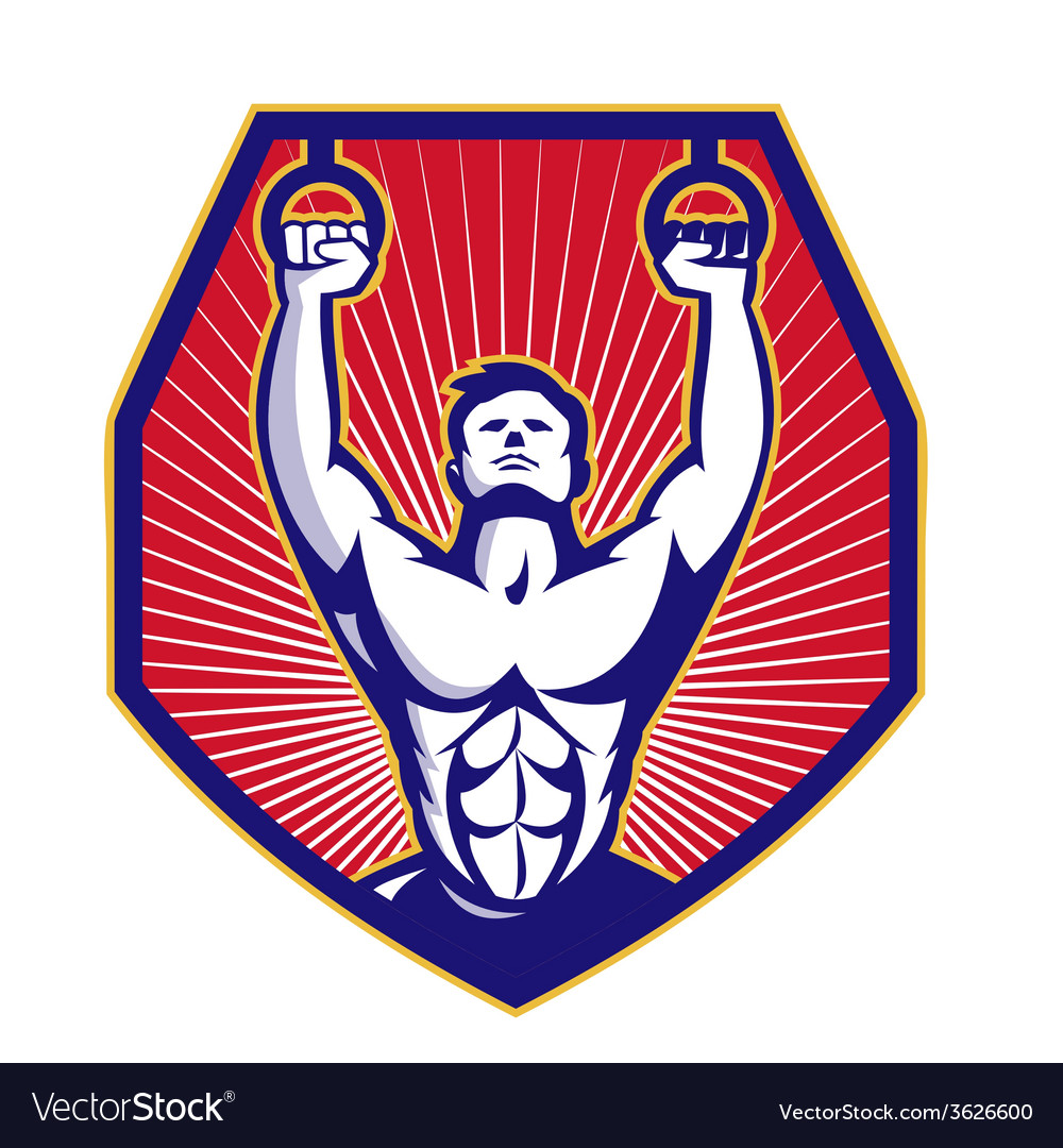 Crossfit training athlete rings retro vector | Price: 1 Credit (USD $1)
