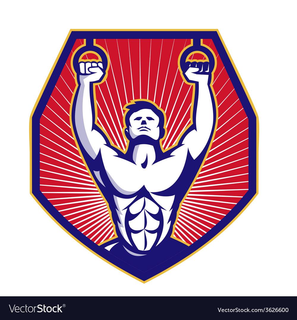 Crossfit training athlete rings retro vector | Price: 1 Credit (USD $1)