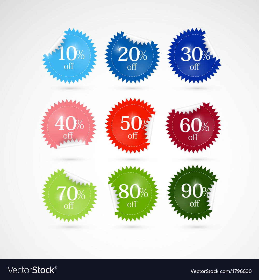 Discount labels tags set vector | Price: 1 Credit (USD $1)