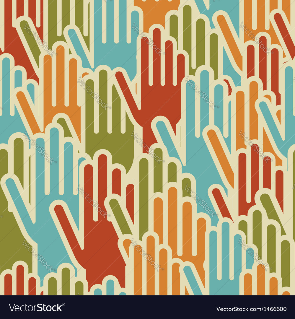 Diversity hands up seamless pattern vector | Price: 1 Credit (USD $1)