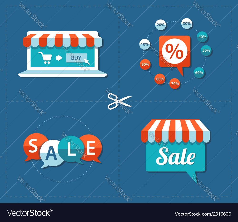 Flat design sale tags set vector   Price: 1 Credit (USD $1)