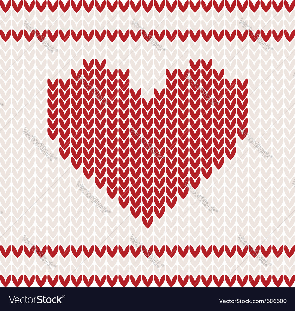 Heart knitted pattern vector | Price: 1 Credit (USD $1)