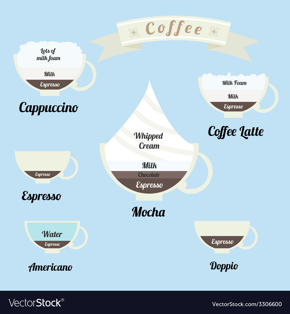 Infographics set types of coffee drinks vector | Price: 1 Credit (USD $1)
