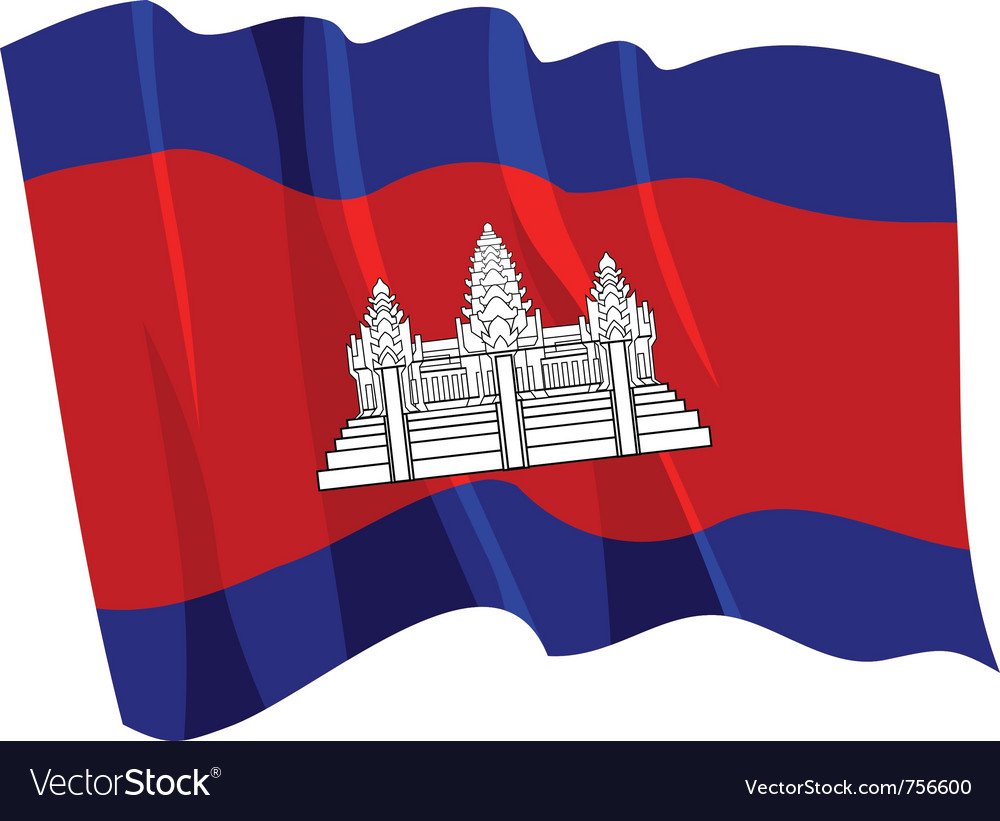 Political waving flag of cambodia vector | Price: 1 Credit (USD $1)