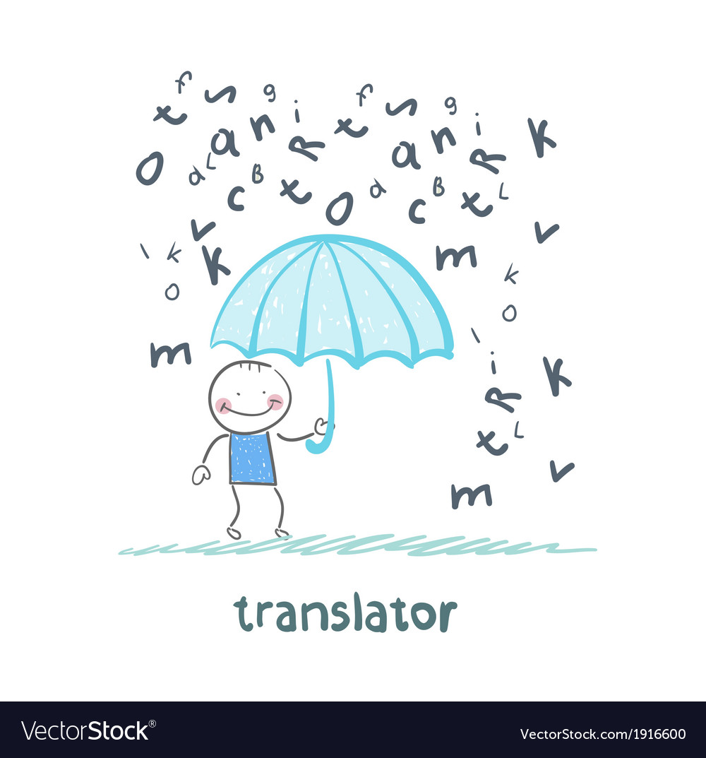 Translator is faced with an umbrella from the rain vector | Price: 1 Credit (USD $1)