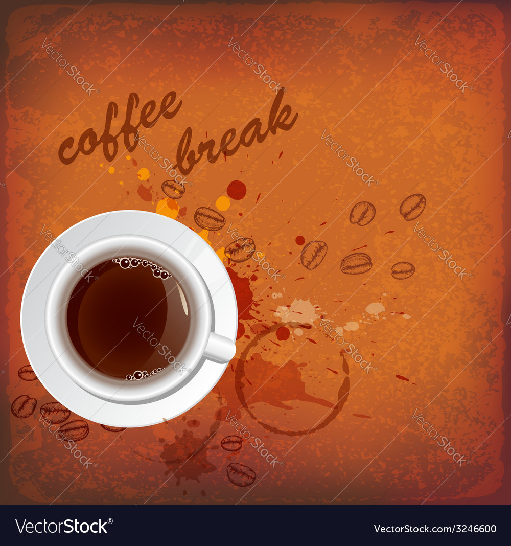 Vintage background with white cup of coffee vector | Price: 1 Credit (USD $1)