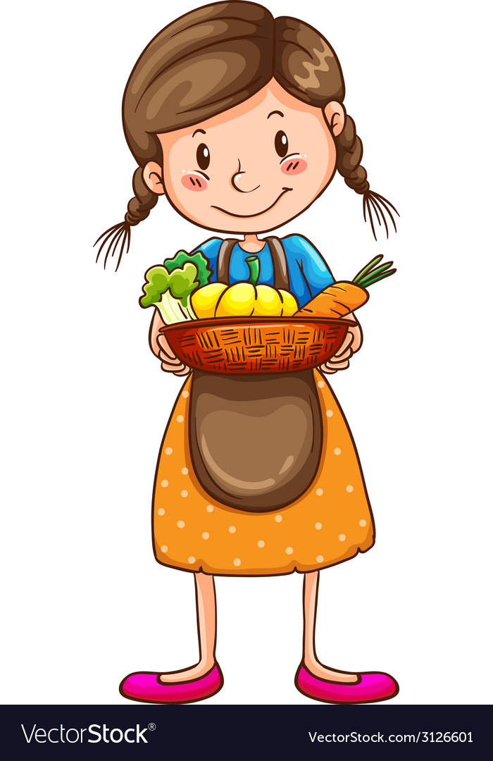 A simple drawing of a farm girl vector | Price: 1 Credit (USD $1)