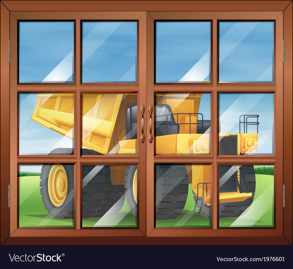 A window near the yellow vehicle vector | Price: 1 Credit (USD $1)