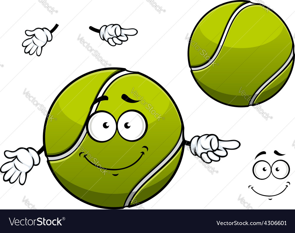 Cheerful green tennis ball cartoon character vector | Price: 1 Credit (USD $1)