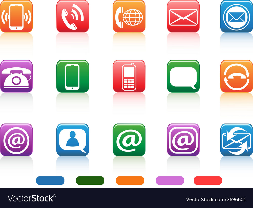 Contact button icons set vector   Price: 1 Credit (USD $1)