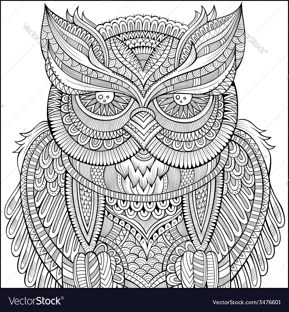 Decorative ornamental owl background vector | Price: 1 Credit (USD $1)