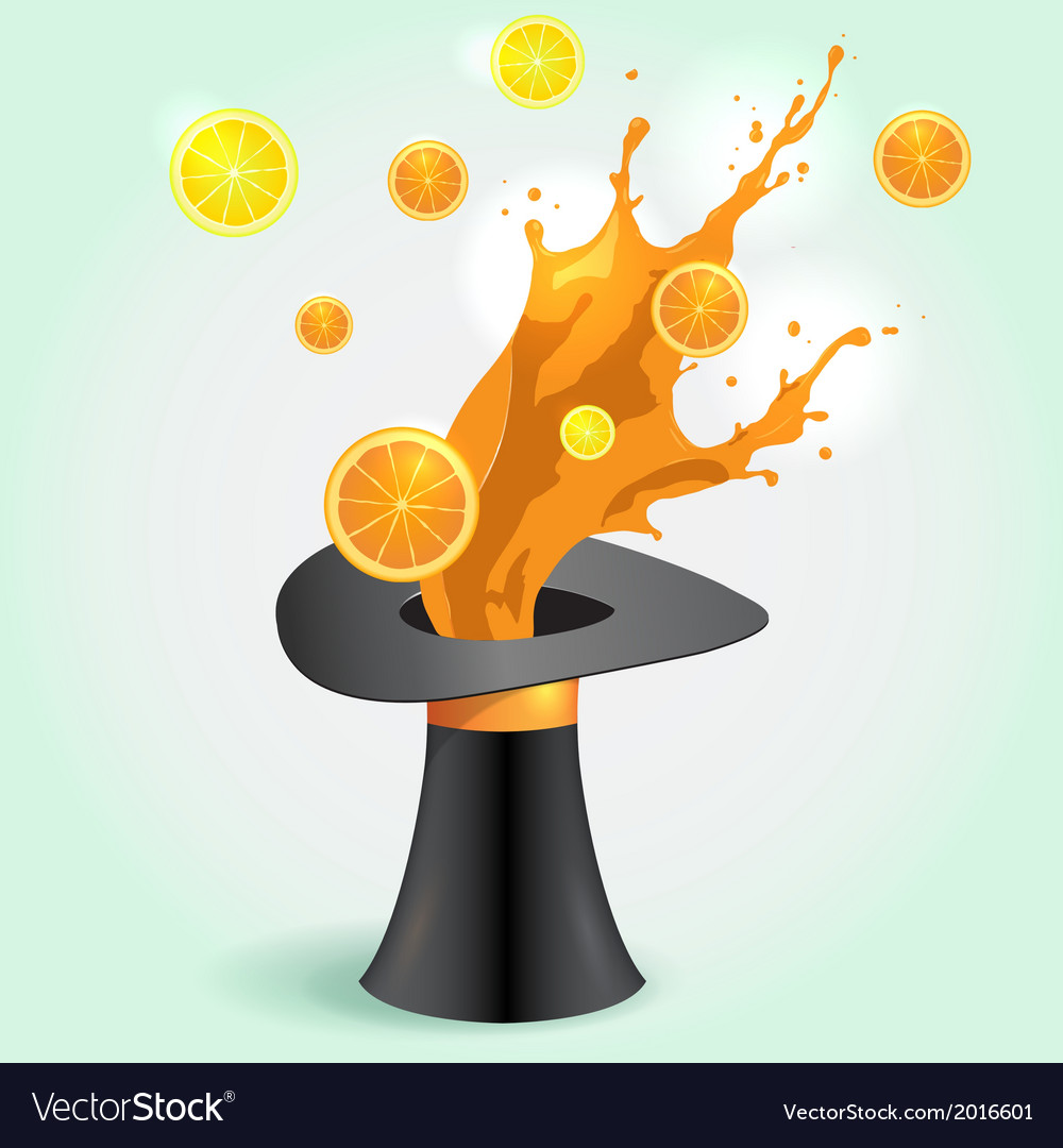 Magic hat whith orange juice splash vector | Price: 1 Credit (USD $1)