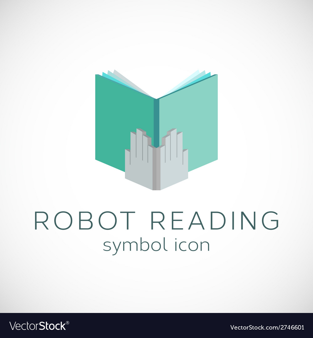 Metal hands with book template robot reading vector | Price: 1 Credit (USD $1)