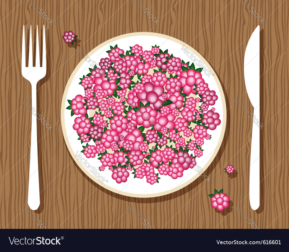 Raspberries on a plate vector | Price: 1 Credit (USD $1)