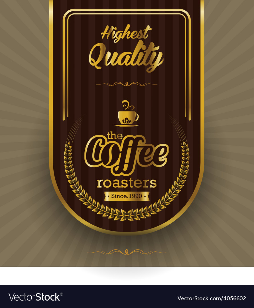 Brown background with coffee label vector | Price: 1 Credit (USD $1)