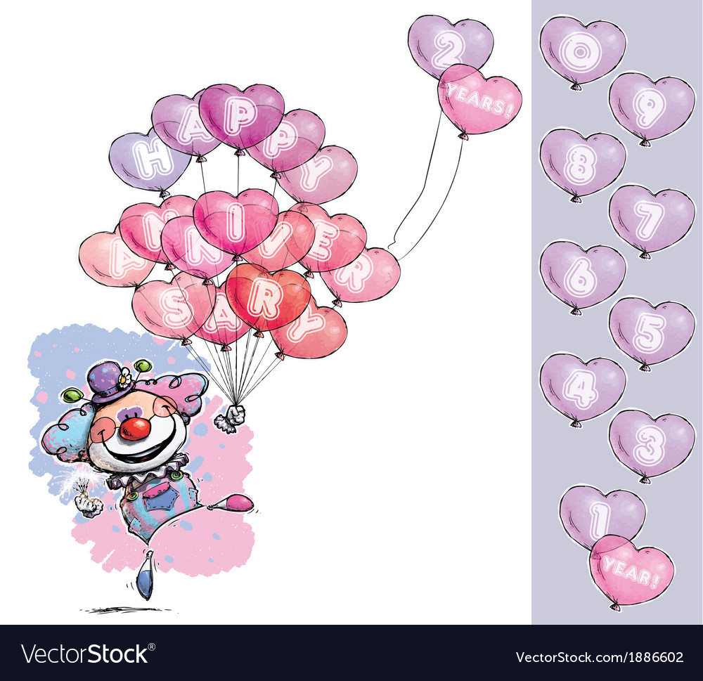 Clown with heart balloons saying happy anniversary vector | Price: 3 Credit (USD $3)