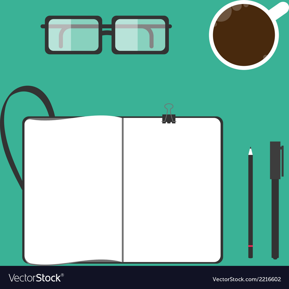 Coffee cup notebook glasses pen pencil vector | Price: 1 Credit (USD $1)