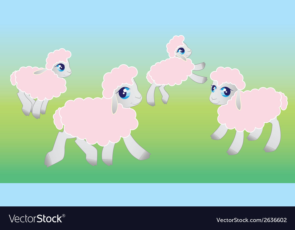 Four sheep - vector | Price: 1 Credit (USD $1)
