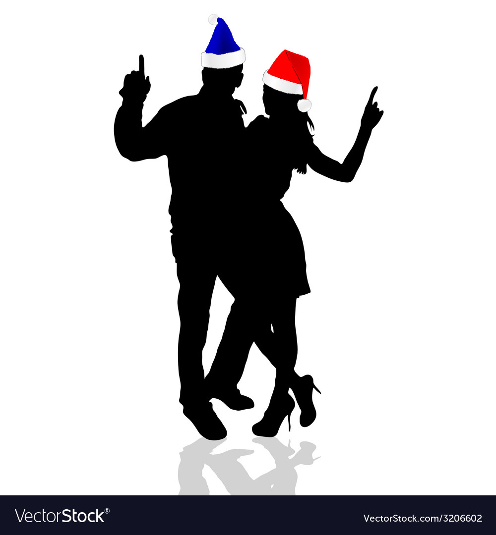 Girl and man with christmas hat vector | Price: 1 Credit (USD $1)