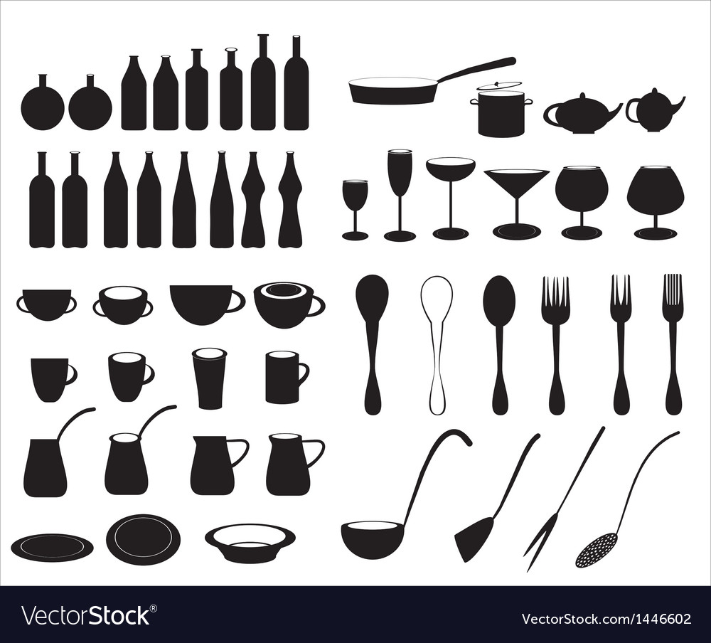 Icons of tableware and cutlery vector | Price: 1 Credit (USD $1)