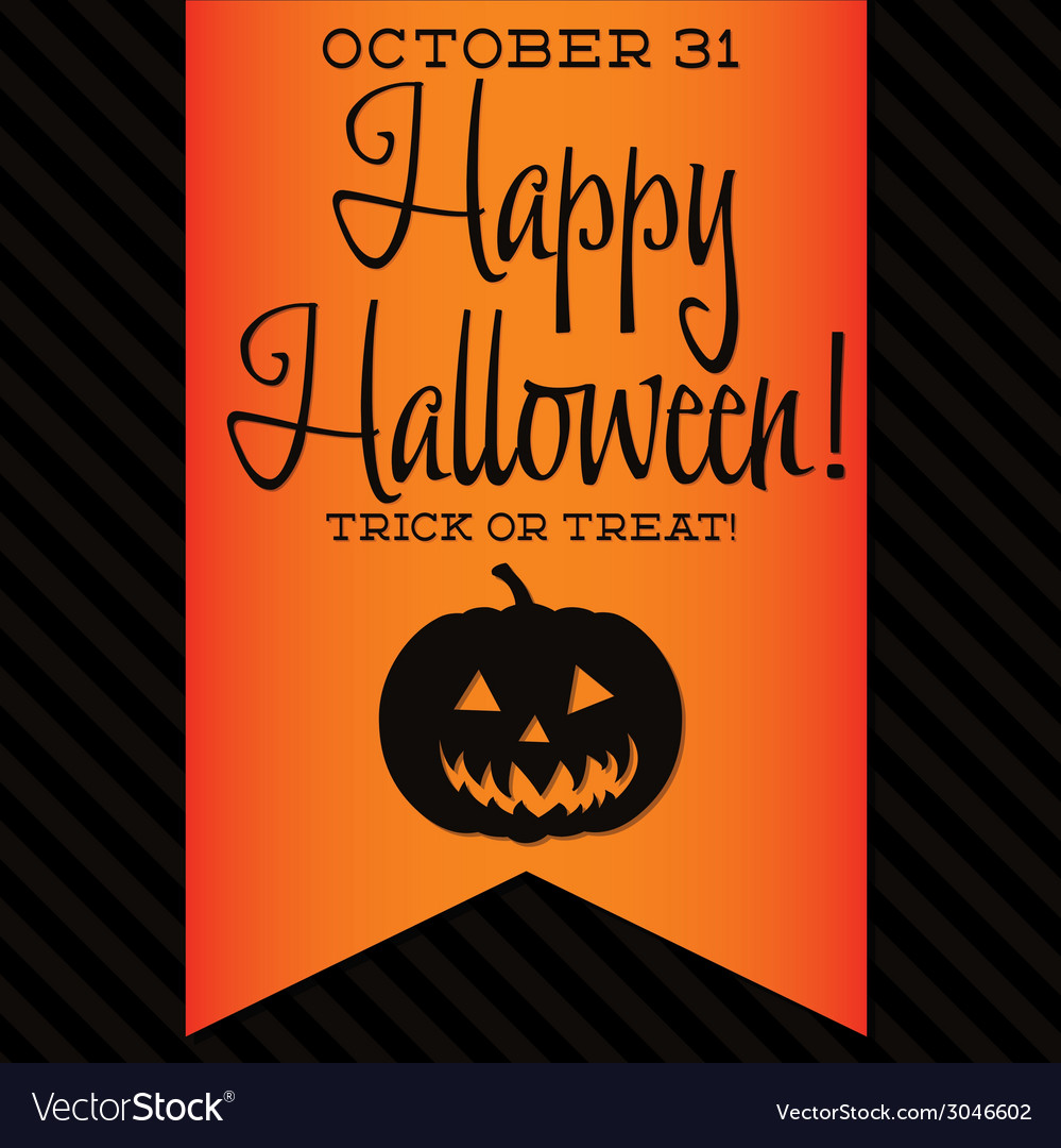 Jack o lantern halloween sash card in format vector | Price: 1 Credit (USD $1)