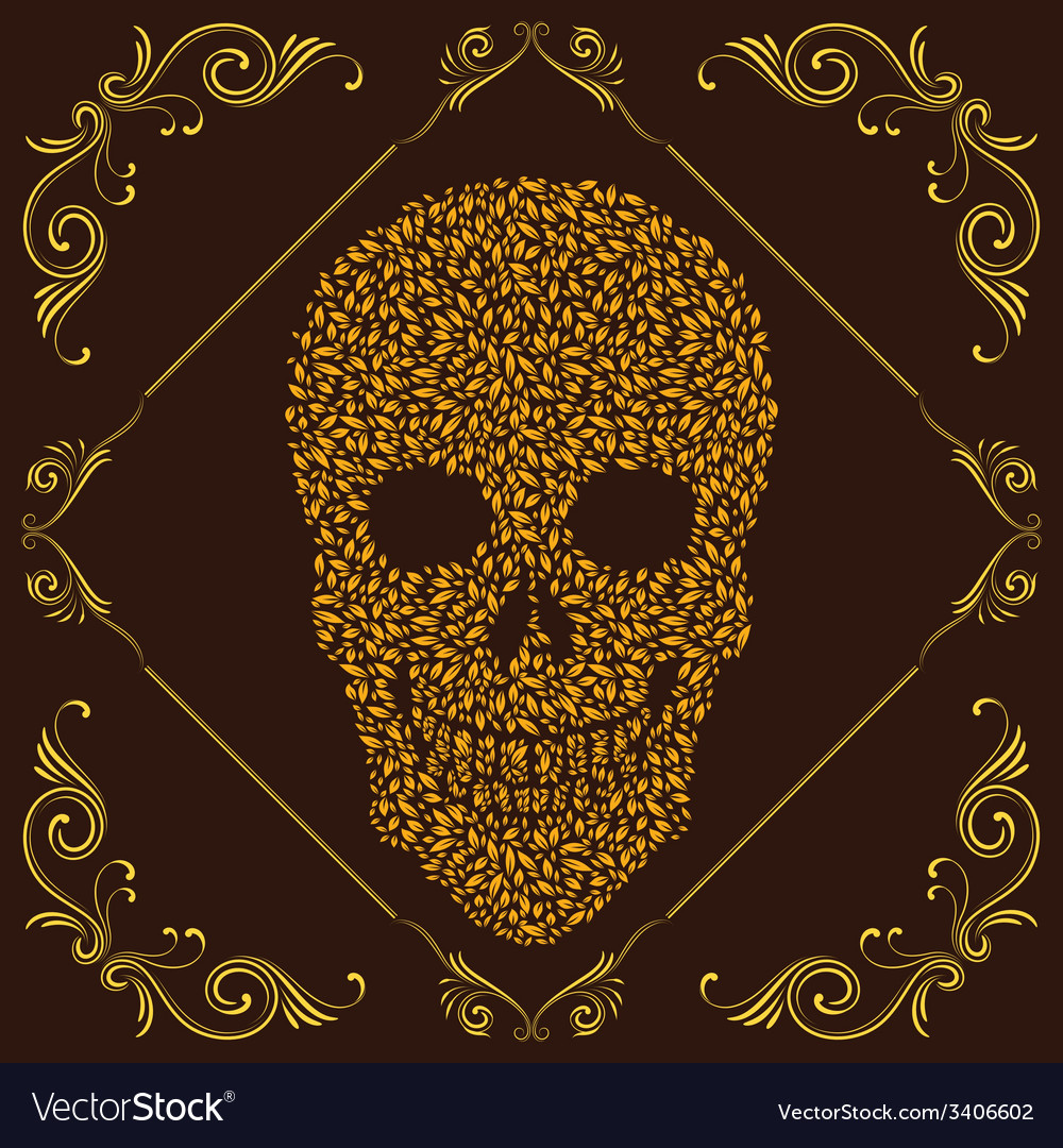 Leaf and ornamental skull vector | Price: 1 Credit (USD $1)