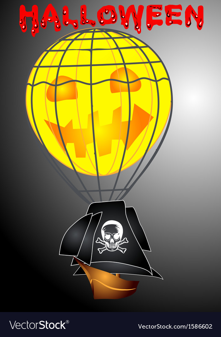 Pirate airship in halloween vector | Price: 1 Credit (USD $1)