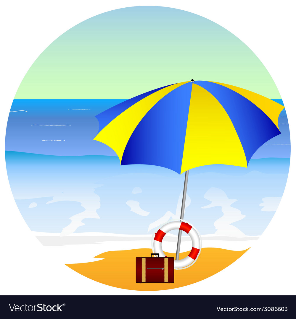 Beach paradise with umbrella vector | Price: 1 Credit (USD $1)