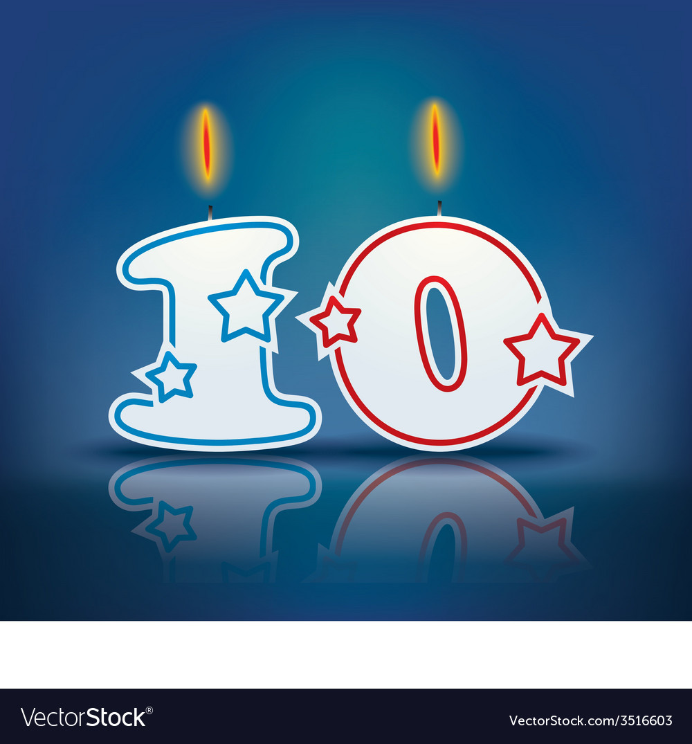 Birthday candle number 10 vector | Price: 1 Credit (USD $1)