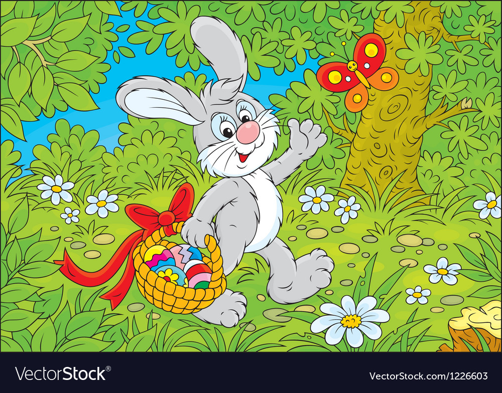Easter bunny with a basket of eggs vector | Price: 3 Credit (USD $3)