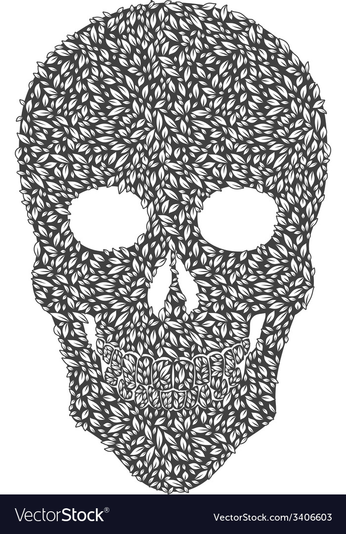 Gray leaf skull vector | Price: 1 Credit (USD $1)